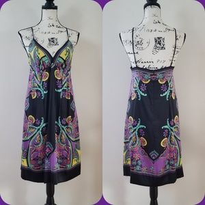 eci New York Printed Silk Slip Dress